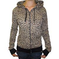 Womens Leopard Animal Print Zip Up Hooded Top Hoodie NEW UK 8-18