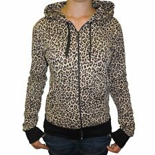 e5d945e56ac1 Womens Leopard Animal Print Zip Up Hooded Top Hoodie NEW UK 8-18