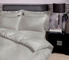 Catherine Lansfield 300 Thread Count Luxury Satin Stripe Grey Premium Bedding Single Quilt Set