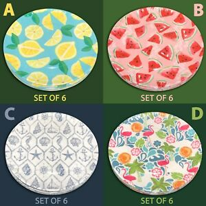 "SET OF 6 New 8"" Melamine Salad Plates Lemon Watermelon Flamingo Palm Sea Shells"