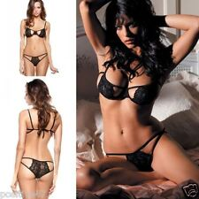 WOMENS LACE BRA LINGERIE SET UNDERWEAR SLEEPWEAR G-STRING NIGHTWEAR