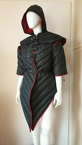 Cotton Gambeson + Hood   Medieval fantasy Witchery Women's Costume   Size S-3XL