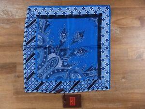 ETRO Milano blue silk pocket square authentic - NWT