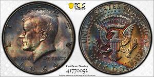1964-D Kennedy Half Dollar 50 Cent, PCGS MS63, AMAZING RAINBOW GALACTIC TONING!