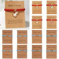 Cute Animal Horse Owl Bracelet Rope String Jewelry Lucky Wish Card Gift Bangle