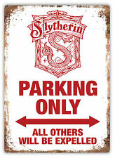 Small- Slytherin Parking Only - Metal Wall Plaque Art Sign - Potter House Harry