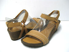 TEVA YSIDRO STITCH WEDGE WOMEN LEATHER SANDALS TAN US 8 /UK 6 /EU 39