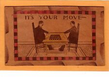 Leather Postcard - Two Men Playing Checkers