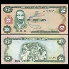 Jamaica Banknote 1 Dollar 1982 P6b Unc With Un Fdi Flag Stamp Prefix Fv North & Central America Paper Money: World