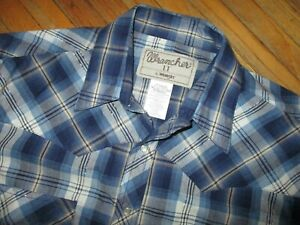 WRANGLER WRANCHER PEARL SNAP WESTERN SHIRT Blue Plaid Silver Tinsel LARGE TALL