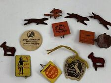 Lot Of 13 Antique/Vintage Metal & Paper Tobacco Tags