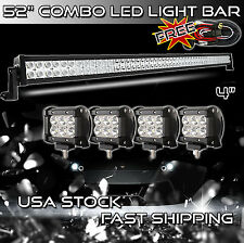 52INCH 300W +  4X 18W CREE LED Light bar + Mount Brackets Jeep Wrangler Wire 50