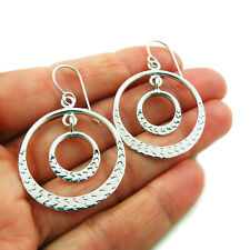 Hoops 925 Sterling Silver Double Hoop Drop Earrings