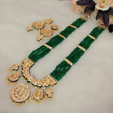 Indian Handmade Ethnic Beads Green Raani Haar Long Kundan Gold Plated Necklace