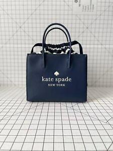 Kate Spade Trista Leather Shopper WKR00384 Satchel Crossbody Bag Handbag Navy