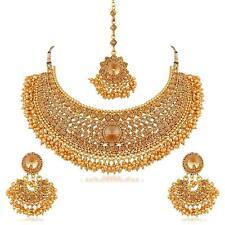 Gold überzogener indischer Mode-Halsketten-Ohrring stellte ethnischen Schmuck