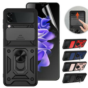 For Samsung Galaxy Z Flip 3 5G Case Ring Stand Hybrid Cover,TPU Screen Protector