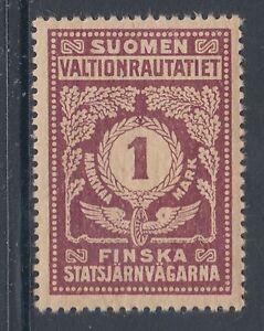 Finland HS 48v MLH. 1920 1mk Railway Stamp, VF