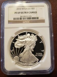 2010-W Proof Silver Eagle, NGC, PF 69 Ultra Cameo, Brown Label