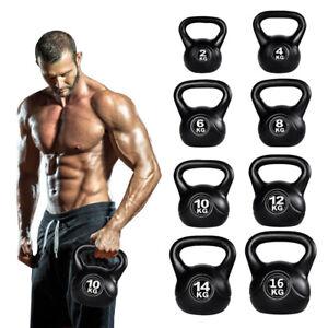Vinyl Kettlebell Strength Weight Fitness Home Gym Workouts Kettlebells 2-16kg