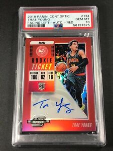 TRAE YOUNG 2018 PANINI CONTENDERS OPITC #124 RED PRIZM AUTO ROOKIE RC /99 PSA 10