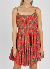 Rhode Resort Nala Floral Printed Red Mini Dress Cotton Voile XS New 199144 US