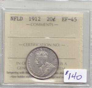 1912 NEWFOUNDLAND 20 CENT COIN ICCS EF-45