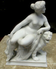 Antique 19th Century Parian Porcelain Nude Figure of Ariadne Riding a Panther
