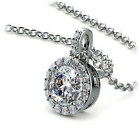 Halo 1.00 Carat Round Cut Natural Diamond Pendant Necklace H/SI2 14K White Gold