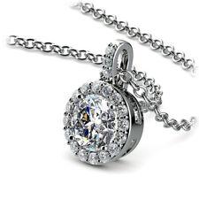 Halo 1.00 Carat Round Cut Natural Diamond Pendant Necklace H/SI2 14K White Gold