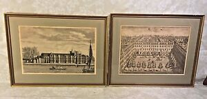 Pair of Antique Architectural Engravings in Frames Under Glass