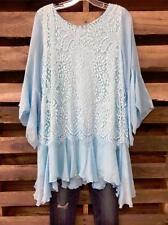 Vintage-Fashion Look Romantic Tunic in Blue Lace Lined Blouse & Top Plus Sz 2X