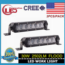 2X 30W 7Inch CREE Single Row LED Light Bar Slim Flood Beam Jeep Bumper ATV 4WD