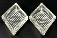Diamond Waffle Weave Open Salt Cellar Dip Dish Clear Pressed Pattern Glass Old