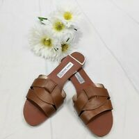 Zara Basic Women's Brown Leather Criss-cross Sliders Sandals Size 38