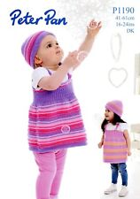 Pinafore Dress & Hat Peter Pan DK Knitting Pattern #P1190 Baby Girls NB - 4 yrs