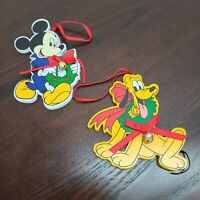 Vintage Walt Disney Wooden Christmas Ornaments Mickey Mouse Pluto Bells Wood
