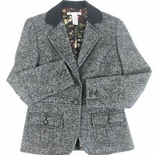 CAbi Womens Wool Blazer Size 4 Fox Hunt Equestrian Grey Tweed Downton Abbey