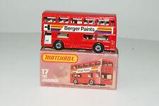 Matchbox Superfast #17 Londoner Bus, Berger Paints, Metal Base, Boxed