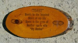 Vintage Wood Slice Wall Plaque TOAST Here's to the happiest hours of my life...