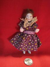 "Antique porcelain German Frozen Charlotte doll w/hair 3 3/4"" tall dollhouse size"