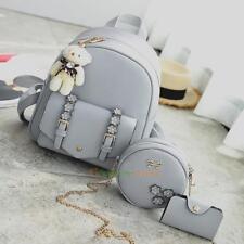 3pcs Women Girl Backpack Shoulder Bag Travel Schoolbags Handbag Rucksack Satchel