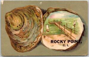 1910s ROCKY POINT, Rhode Island Postcard Seashell / Pier Scene Embossed UNUSED