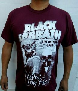 BLACK SABBATH LIVE ON  TOUR 1978  Rock Band BURGUNDY T SHIRT Men's SIZES