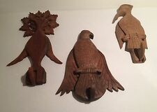 Lot of Three Whimsical Carved Wooden Bird Coat Hooks India Hand-carved Primitive