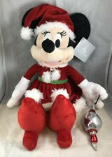 "Disney Parks Santa Minnie Mouse Christmas Holiday 15"" Plush - NEW"
