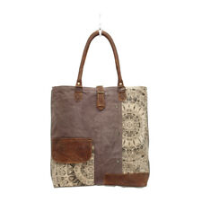 Flowered Recycled Canvas + Leather Tote Bag Army Green Front+Back Pockets Lined