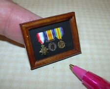 Miniature Walnut Framed WW1 Medals Pip/Squeak/Wilfred DOLLHOUSE Miniatures 1:12