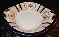 Noritake N2022 Cobalt Band Gold Laurels Floral Handled Antique Bowl  VGC ~ c1912
