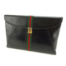 Gucci Document case Sherry Line Black Red Woman Authentic Used Y3465
